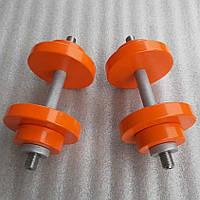 Гантели наборные металлические с двойным покрытием 2 по 18 кг краска+лак (общий вес 36 кг) разборные, фото 1