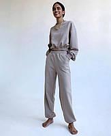 Женский стильный спортивный костюм с укороченным топом, фото 1