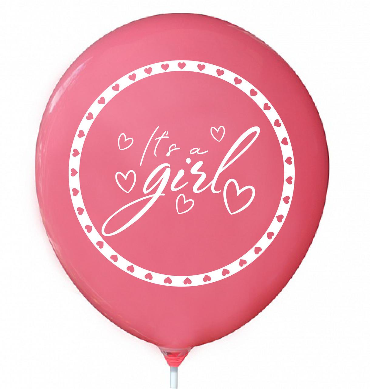 """Латексна кулька 12"""" бабл гам з двостороннім білим малюнком """"it's a girl"""" (КИТАЙ)"""