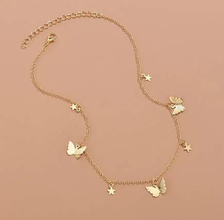 Ланцюжок кулон намисто з метеликами і зірками, фото 2