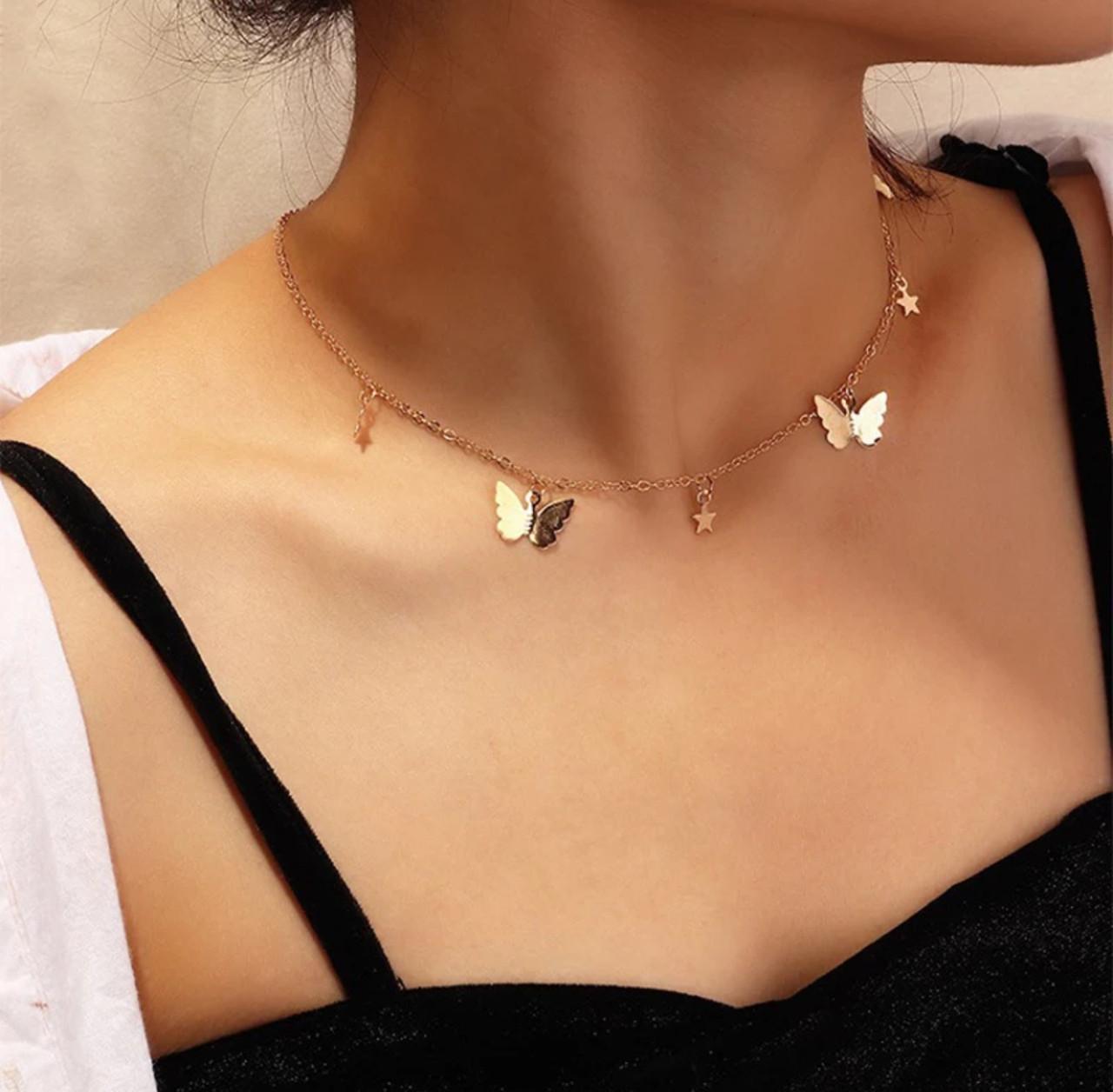 Ланцюжок кулон намисто з метеликами і зірками