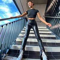 Женские стильные леггинсы из эко-кожи с разрезами, фото 1