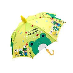 Детский зонт Lesko QY2011301 Little Frog (лягушка) трость полуавтомат с пластиковым чехлом