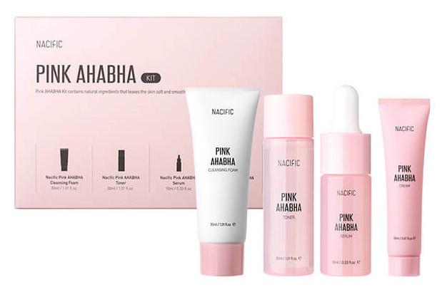 Набор миниатюр косметики с кислотами и экстрактом арбуза Nacific Pink AHA BHA Kit 30 мл, 30 мл, 10 мл, 20 мл