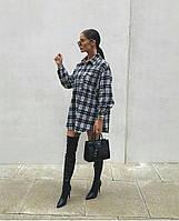Женская стильная удлиненная рубашка в клетку, фото 1