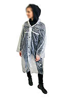 Плащ дощовик підлітковий на кнопках 60мкм Прозорий 107*70 см, похідний дощовик | дождевик