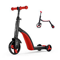 Детский самокат Nadle TF3-1 Красный велобег, велосипед трехколесный для детей 3 в 1 с сиденьем складной