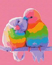 """Картина за номерами """"Райдужні папужки"""""""