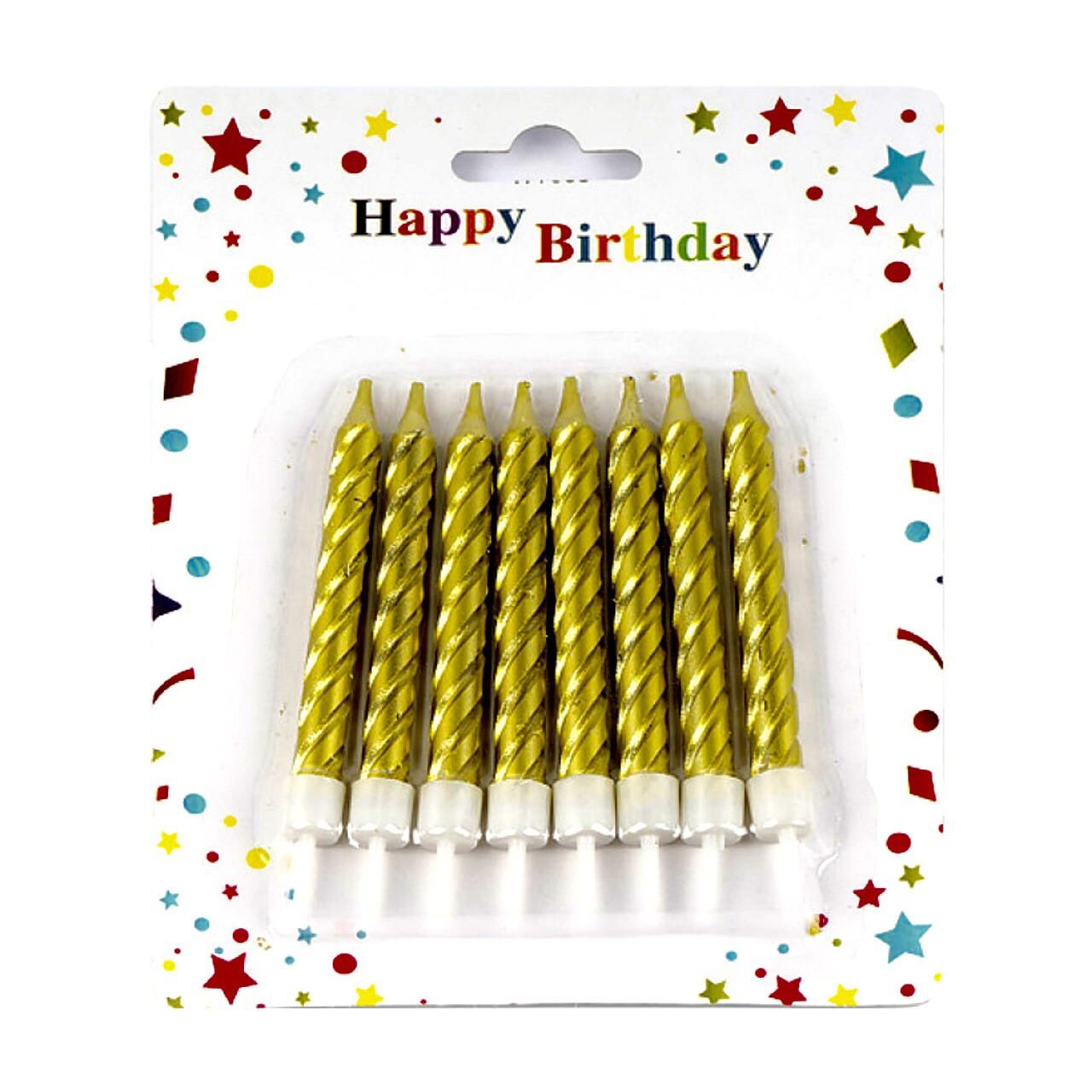 """Свічки на торт """"Велика спіраль"""" 9 см (8 шт.) золото"""