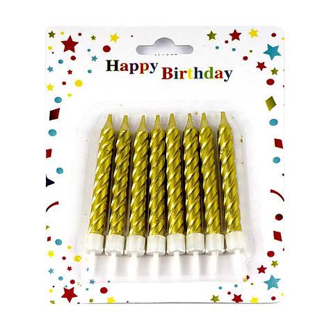 "Свічки на торт ""Велика спіраль"" 9 см (8 шт.) золото, фото 2"