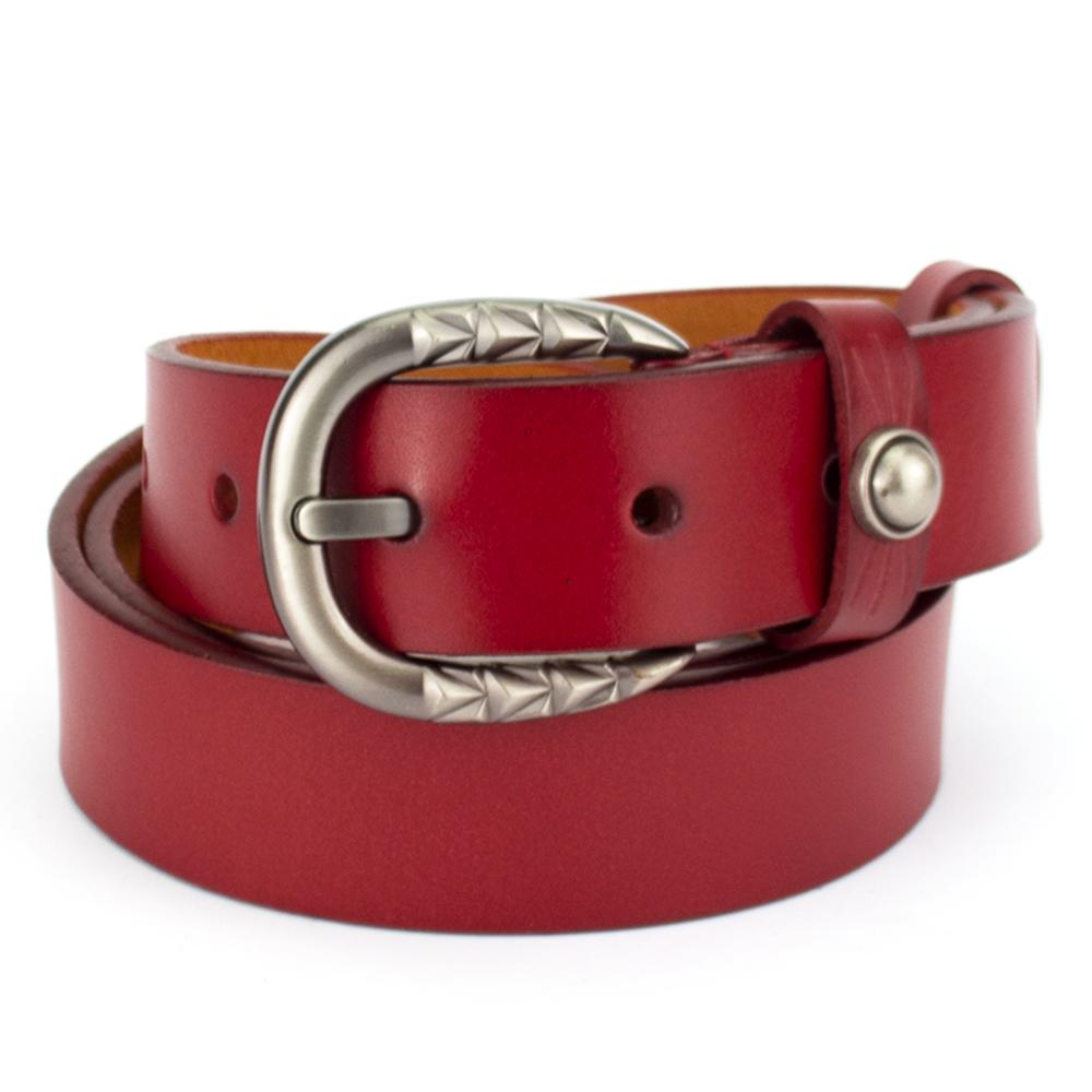 Ремень женский кожаный под джинсы красный PS-3089 red (110 см)