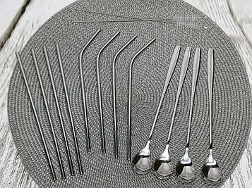 Набор для напитков Gräwe из 14 предметов (8 металлические эко трубочки, 4 ложки для коктейля, 2 щетки)