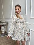 Цветочное короткое платье с расклешенной юбкой и объемными рукавами (р. S, M) 66032406Q, фото 2
