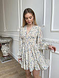 Цветочное короткое платье с расклешенной юбкой и объемными рукавами (р. S, M) 66032406Q, фото 3