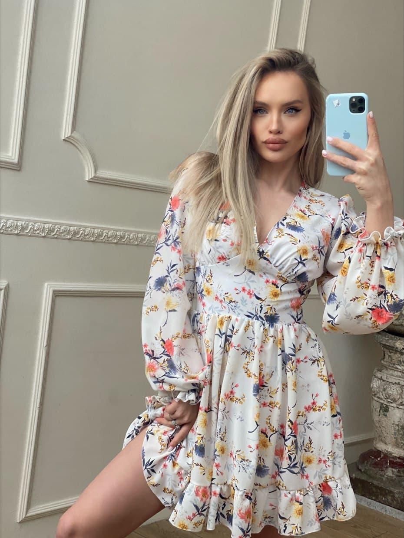 Цветочное короткое платье с расклешенной юбкой и объемными рукавами (р. S, M) 66032406Q