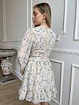 Цветочное короткое платье с расклешенной юбкой и объемными рукавами (р. S, M) 66032406Q, фото 4