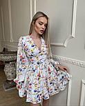 Цветочное короткое платье с расклешенной юбкой и объемными рукавами (р. S, M) 66032406Q, фото 5