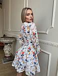 Цветочное короткое платье с расклешенной юбкой и объемными рукавами (р. S, M) 66032406Q, фото 8
