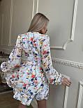 Цветочное короткое платье с расклешенной юбкой и объемными рукавами (р. S, M) 66032406Q, фото 9