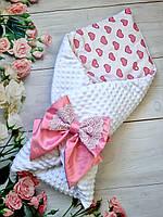 """Конверт - одеяло на выписку для девочки """"Сердечко"""", красивый конверт на выписку"""