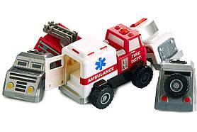 Конструктор для маленьких POPULAR Playthings Build-a-Truck Rescue рятувальні машинки (швидка, пожежна, поліція)