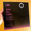 Кольцевая лампа 26 см со штативом на 2м Ring Fill Light кольцевой свет лампа для селфи лампа для тик тока, фото 6