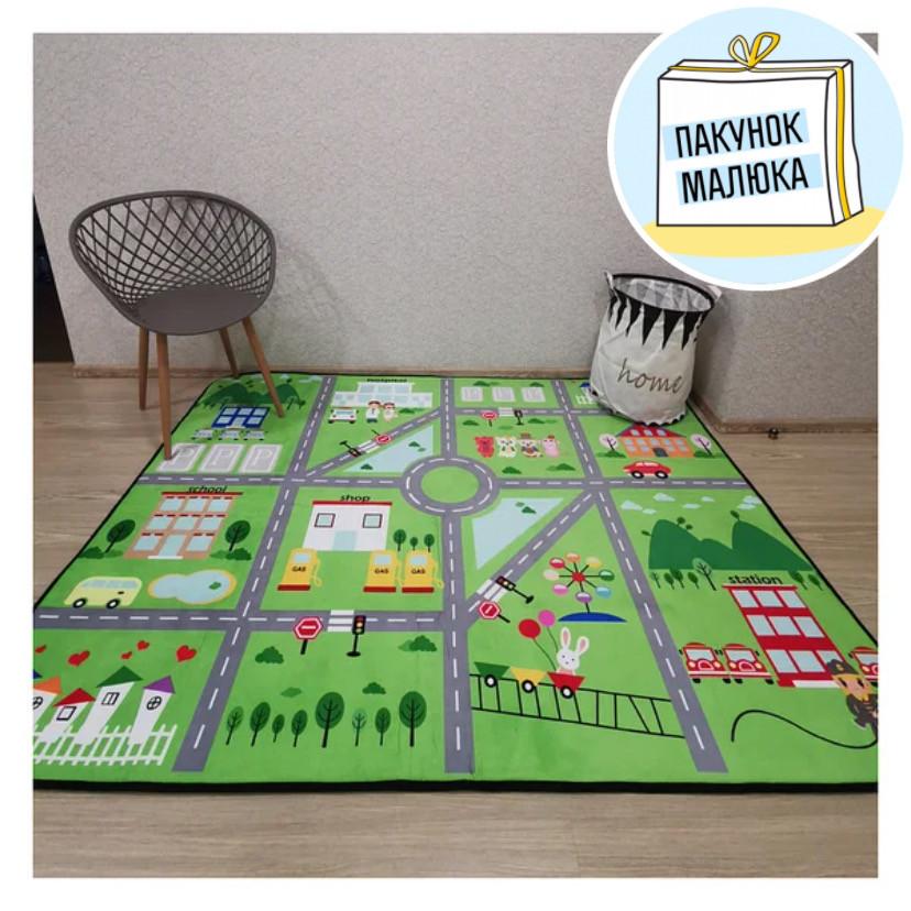 """Безкоштовна доставка! Килим в дитячу """"Містечко"""" зелений"""" утеплений килимок мат (1.5*2 м)"""