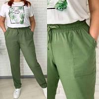 Жіночі літні брюки лляні батал новинка 2021