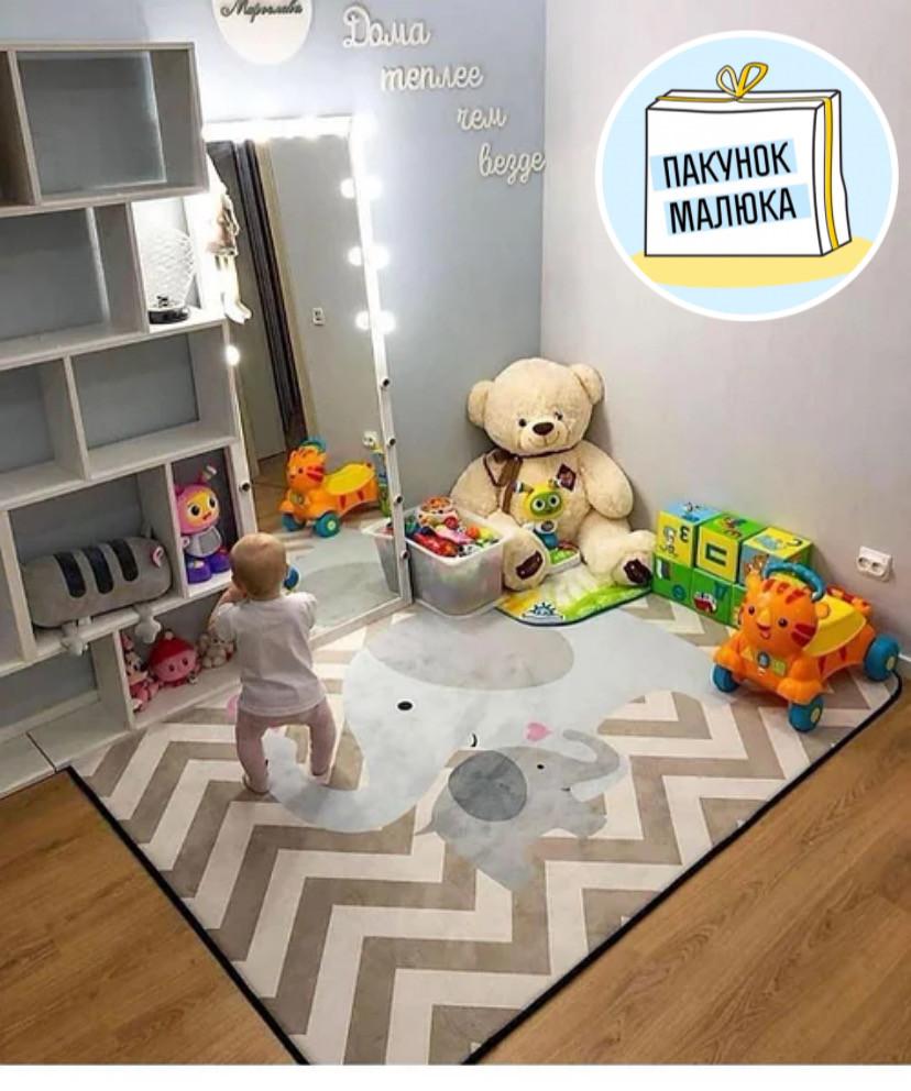 """Безкоштовна доставка! Килим в дитячу """"Мама слоник і малюк"""" утеплений килимок мат (1.5*2 м)"""