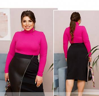 / Размер 50,52,54,56,58,60 / Женская оригинальная юбка с высокой талией / 856-Черный