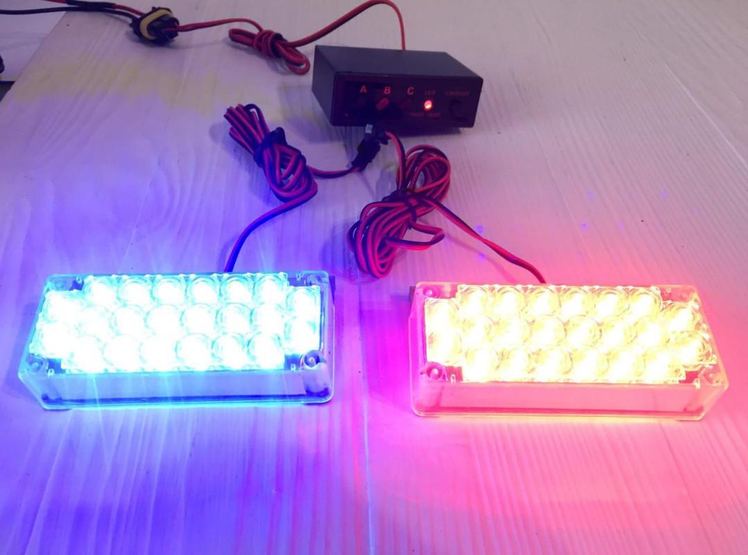 Проблесковый сигнальный LED стробоскоп/маячок в решетку .бампер красно-сини .Проблесковый маячок для авто -12V