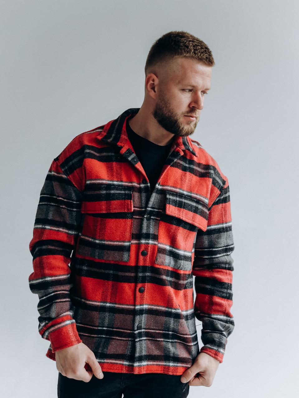 Мужская клетчатая теплая байковая куртка-рубашка на пуговицах с карманами красно-серая
