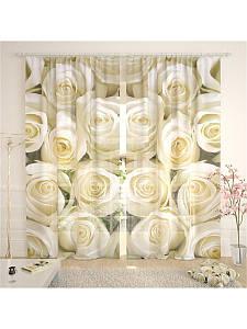 Фототюль белые розы