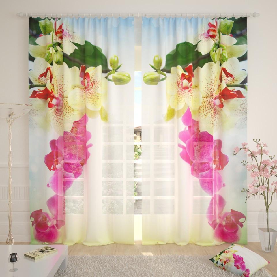 Фототюль 3д цветы орхидеи