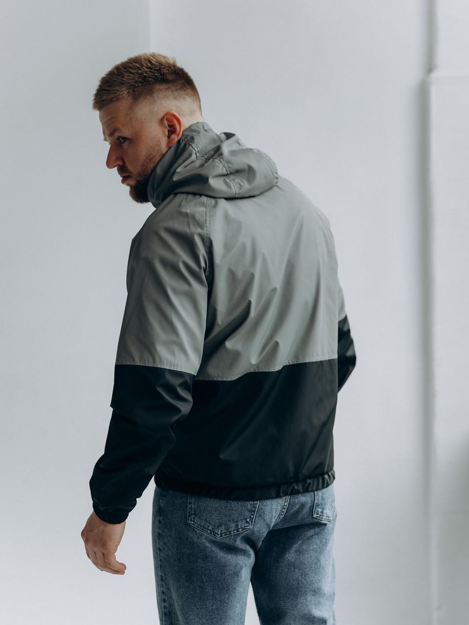Чоловіча чорна весняна куртка з капюшоном/ Куртка молодіжна вітрозахисна чорна з кишенями, фото 2