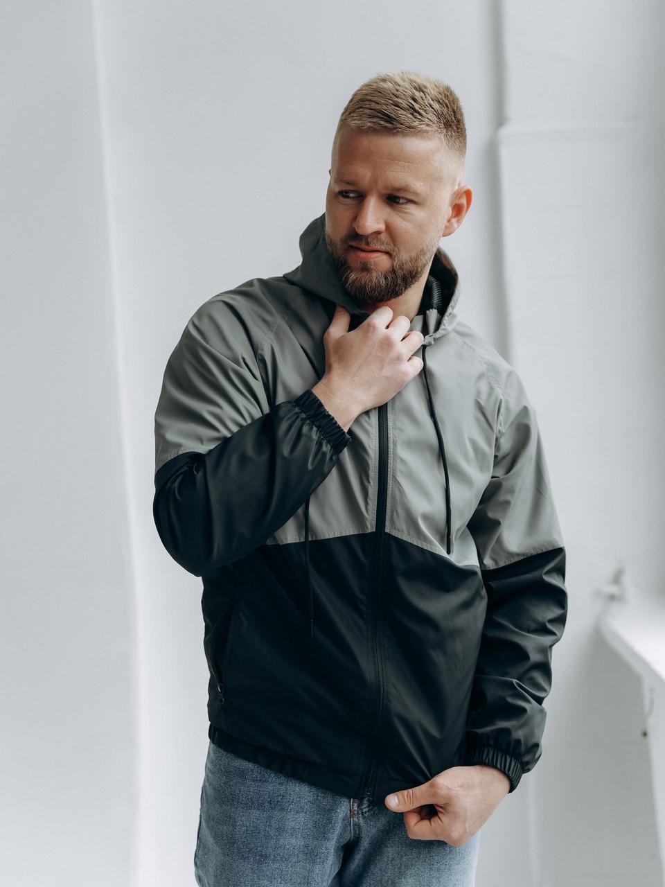 Чоловіче демісезонне двоколірна вітровка з капюшоном/Куртка молодіжна вітрозахисна з плащової тканини з кишенями