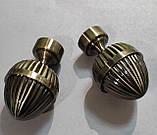 Карниз для штор металевий ОДЕОН подвійний 25+19мм РЕТРО 2.4 м Античне золото, фото 2