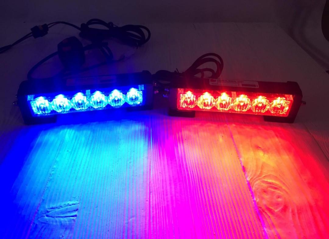 Проблисковий маячок/стробоскоп LED в решітку бампер червоно-синій .Проблисковий сигнальний для авто -12-24V