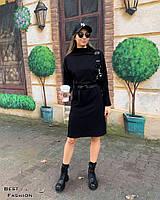 Женское стильное платье под горло с разрезами, фото 1