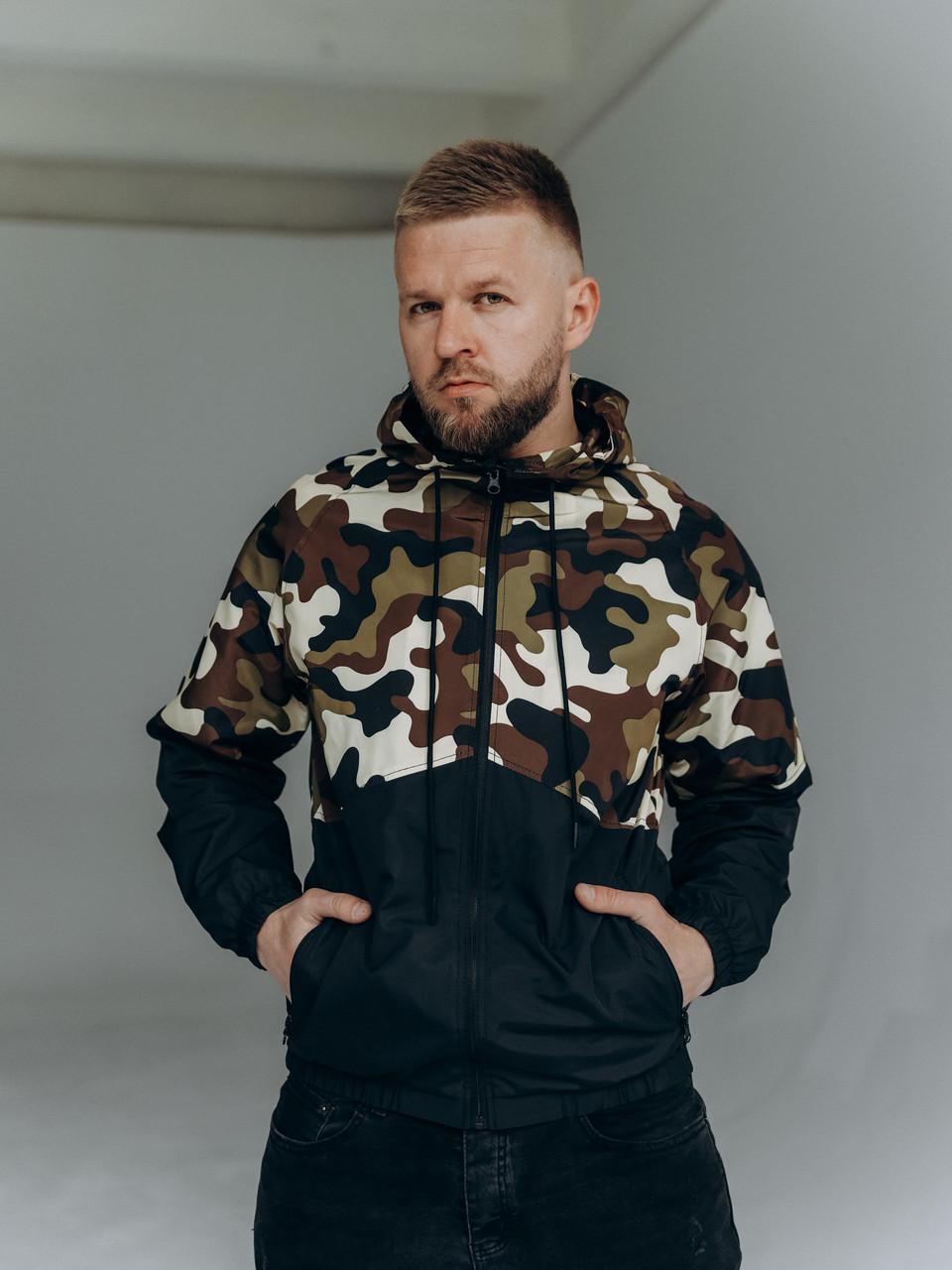 Мужская весенне-осенняя ветровка из плащевки с камуфляжным принтом/Куртка ветрозащитная с капюшоном