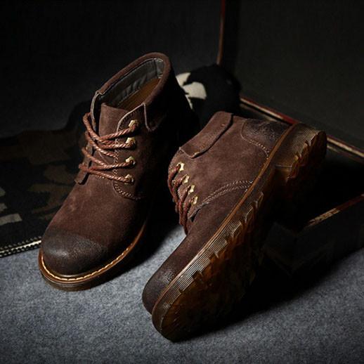 Мужские кожаные зимние ботинки из натурального нубука