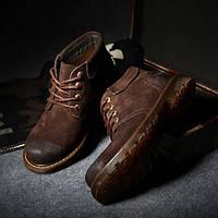 Мужские кожаные зимние ботинки из натурального нубука, фото 1