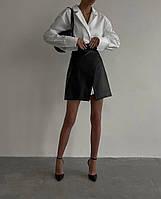 Женская стильная юбка из эко-кожи на запах, фото 1