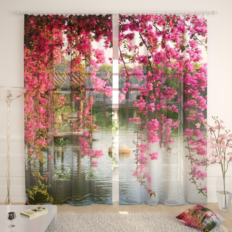 Фототюль китайский дом в цветах