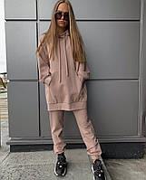 Жіночий стильний спортивний костюм з подовженим худі з капюшоном Батал, фото 1