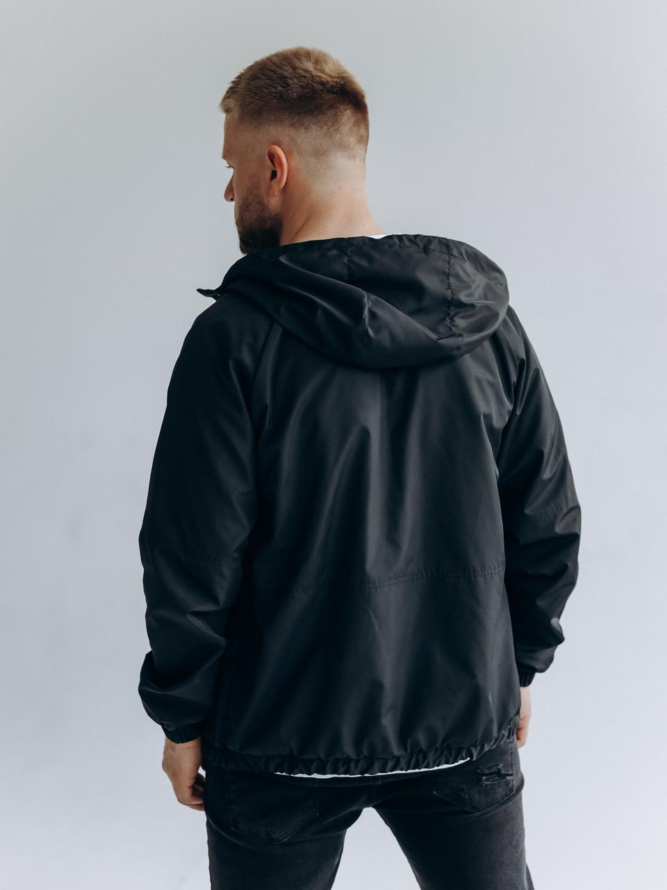 Мужская черная весення ветровка с капюшоном/ Куртка молодежная ветрозащитная черная с карманами, фото 2