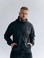 Мужская черная весенняя ветровка с капюшоном/ Куртка молодежная ветрозащитная черная с карманами