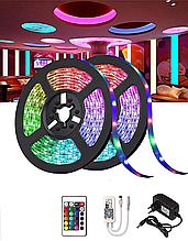 Светодиодная лента SMD 5050 RGB 5м с пультом и блоком питания