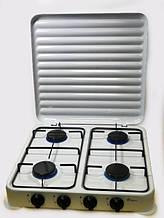 Плита газовая таганок настольная Domotec MS 6604 на 4 конфорки эмалированная с крышкой