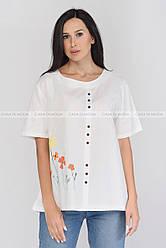 Туника женская летняя с рисунком, туника,мода 2021  цвет белый
